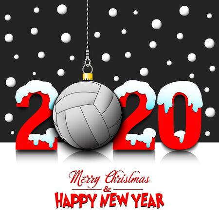 Merry Christmas and Happy New Year. Number 2020 and volleyball ball as a Christmas decorations hanging on strings amid falling snow on a mirror surface. Pattern for greeting card. Vector illustration