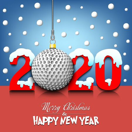 Merry Christmas and Happy New Year. Number 2020 and golf ball as a Christmas decorations hanging on strings amid falling snow on a mirror surface. Pattern for greeting card. Vector illustration
