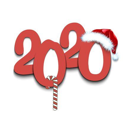 Szablon projektu kartki z życzeniami z na nowy rok 2020 na na białym tle. Wesołych Świąt i Szczęśliwego Nowego Roku. Minimalistyczny wzór na projekt graficzny plakatu, ulotki, zaproszenia. Ilustracja wektorowa