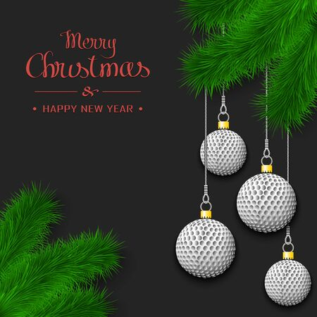 Marry Christmas and Happy New Year. Golf balls as a Christmas decorations hanging on a Christmas tree branch. Design pattern for greeting card, banner, poster, flyer, invitation. Vector illustration  イラスト・ベクター素材