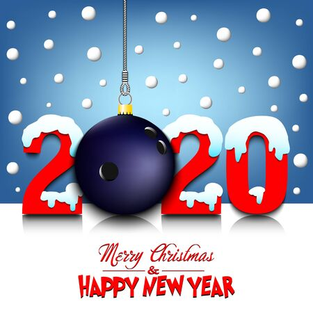Merry Christmas and Happy New Year. Number 2020 and bowling ball as a Christmas decorations hanging on strings amid falling snow on a mirror surface. Pattern for greeting card. Vector illustration