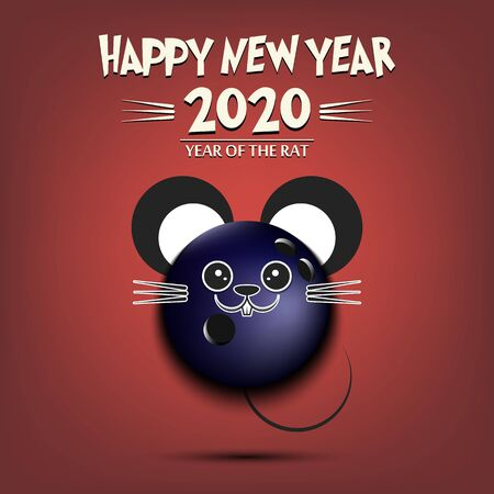 Happy New year. 2020 year of the rat. Cute muzzle mouse in the form of a bowling ball. Bowling ball made in the form of a rat. Greeting card design template with for 2020 new year. Vector illustration