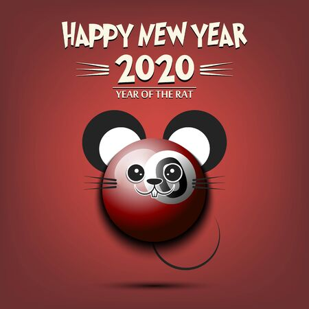 Happy New year. 2020 year of the rat. Cute muzzle mouse in the form of a billiard ball. Billiard ball made in the form of a rat. Greeting card design template with for 2020 new year. Vector illustration