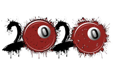 Abstract numbers 2020 and billiard ball made of blots in grunge style. 2020 New Year on an isolated background. Design pattern. Vector illustration