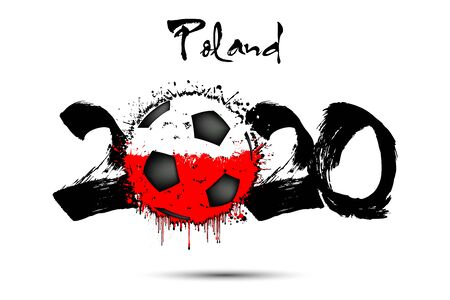 Abstract numbers 2020 and soccer ball painted in the colors of the Poland flag in grunge style. Figures 2020 and flag of Poland in the form of a soccer ball made of blots. Vector illustration