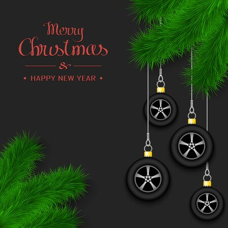 Marry Christmas and Happy New Year. Car wheels as a Christmas decorations hanging on a Christmas tree branch. Design pattern for greeting card, banner, poster, flyer. Vector illustration