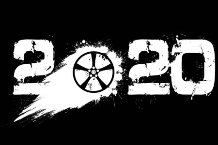 Abstract numbers 2020 and car wheel made of blots in grunge style. 2020 New Year on an isolated background. Design pattern. Vector illustration