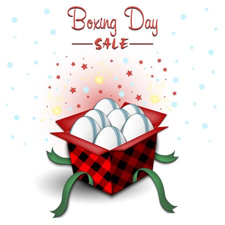 Boxing day. Winter sale. Open gift box with rugby balls. Stars, polka dots and snowflakes on the background. Christmas present. Pattern for banner, poster, flyer, invitation. Vector illustration