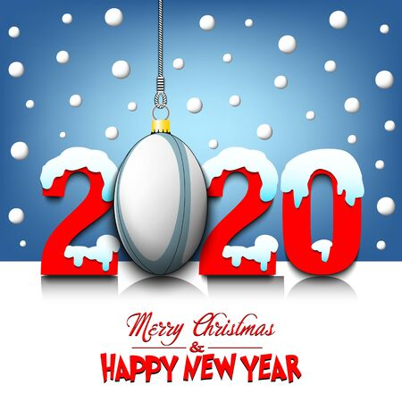 Merry Christmas and Happy New Year. Number 2020 and rugby ball as a Christmas decorations hanging on strings amid falling snow on a mirror surface. Pattern for greeting card. Vector illustration