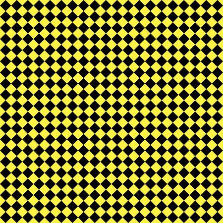 Muster aus schwarzen und gelben Rauten. Diagonale karierter Hintergrund. Diagonales Schachmuster. Argyle-Plaid. Nahtlose Stoffbeschaffenheit. Vektor-Illustration