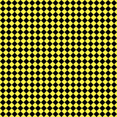 Pattern of black and yellow rhombuses. Diagonal checkered background. Diagonal Chess pattern. Argyle plaid. Seamless fabric texture. Vector illustration