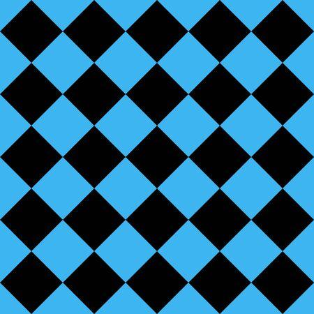 Muster aus schwarzen und blauen Rauten. Diagonale karierter Hintergrund. Diagonales Schachmuster. Argyle-Plaid. Nahtlose Stoffbeschaffenheit. Vektor-Illustration