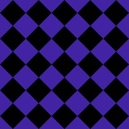 Muster aus schwarzen und violetten Rauten. Diagonale karierter Hintergrund. Diagonales Schachmuster. Argyle-Plaid. Nahtlose Stoffbeschaffenheit. Vektor-Illustration