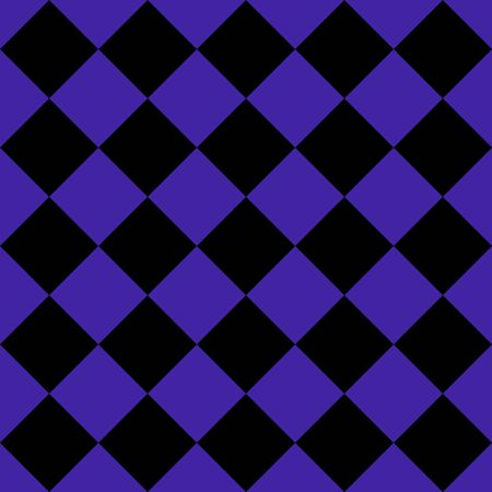 Pattern of black and violet rhombuses. Diagonal checkered background. Diagonal Chess pattern. Argyle plaid. Seamless fabric texture. Vector illustration