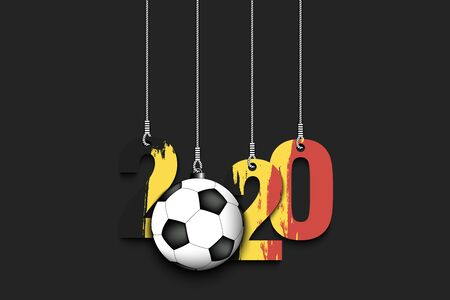 Number 2020 in colors of Belgian flag and soccer ball hanging on strings on an isolated background. Design pattern for banner, poster, flyer, invitation. Vector illustration