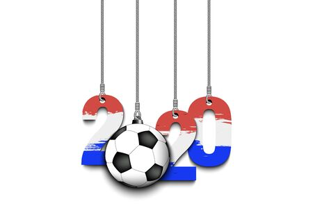 Figures 2020 in colors of the flag of the Netherlands and soccer ball hanging on strings on an isolated background. Design pattern for banner, poster, flyer, invitation. Vector illustration Ilustrace