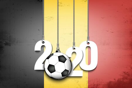 Figures 2020 and soccer ball hanging on strings against the background of the flag of Belgium. Design pattern for banner, poster, flyer, invitation. Vector illustration Ilustrace