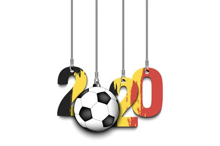 Figures 2020 in colors of the flag of the Belgium and soccer ball hanging on strings on an isolated background. Design pattern for banner, poster, flyer, invitation. Vector illustration
