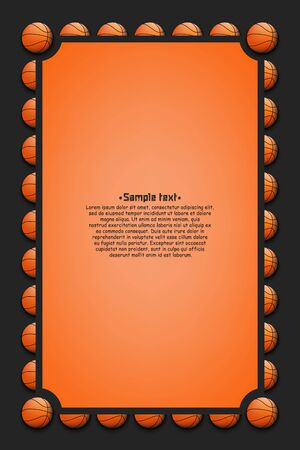 Frame with basketball balls on an isolated background. Creative design pattern for banner, greeting card, party invitation. Vector illustration