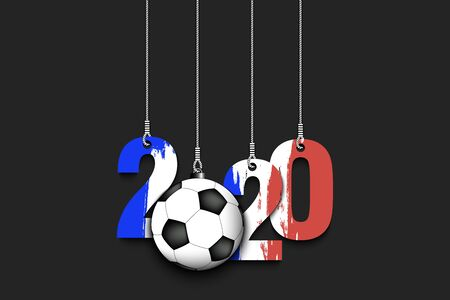 Figures 2020 in colors of the flag of the France and soccer ball hanging on strings on an isolated background. Design pattern for banner, poster, flyer, invitation. Vector illustration