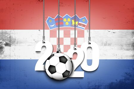 Figures 2020 and soccer ball hanging on strings against the background of the flag of Croatia. Design pattern for banner, poster, flyer, invitation. Vector illustration