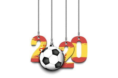 Figures 2020 in colors of the flag of the Spain and soccer ball hanging on strings on an isolated background. Design pattern for banner, poster, flyer, invitation. Vector illustration