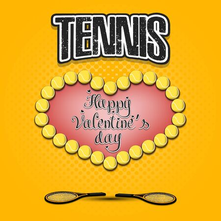 Happy Valentines Day. Tennis balls located in the form of a heart and racket on an isolated background. Design pattern for greeting card, banner, poster, flyer, invitation. Vector illustration