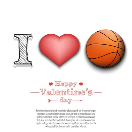 I love basketball. Happy Valentines Day. Pattern with basketball ball and heart on isolated background. Design template for greeting card, banner, poster, flyer, badges, t-shirt. Vector illustration