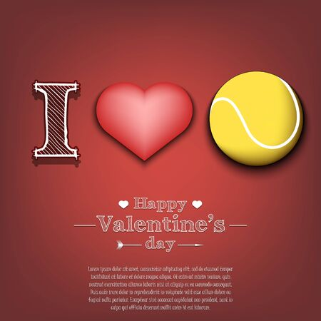I love tennis. Happy Valentines Day. Pattern with tennis ball and heart on an isolated background. Design template for greeting card, banner, poster, flyer, badges, t-shirt. Vector illustration