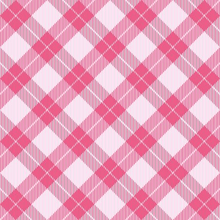 Valentine day tartan plaid. Scottish diagonal pattern in red, pink and white cage. Scottish cage. Traditional Scottish checkered background. Seamless fabric texture. Vector illustration