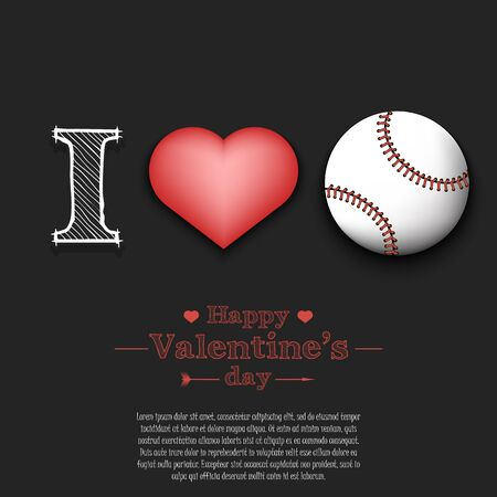 I love baseball. Happy Valentines Day. Pattern with baseball ball and heart on an isolated background. Design template for greeting card, banner, poster, flyer, badges, t-shirt. Vector illustration
