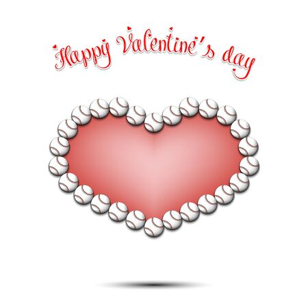 Happy Valentines Day. Baseball balls located in the form of a heart on an isolated background. Design pattern for greeting card, banner, poster, flyer, invitation party. Vector illustration