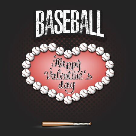 Happy Valentines Day. Baseball balls located in the form of a heart and hanging boot on an isolated background. Design pattern for greeting card, banner, poster, flyer, invitation. Vector illustration