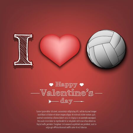 I love volleyball. Happy Valentines Day. Pattern with volleyball ball and heart on an isolated background. Design template for greeting card, banner, poster, flyer, badges, t-shirt. Vector illustration Ilustração
