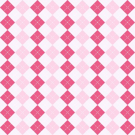 Valentines day Argyle plaid. Scottish pattern in red, pink and white rhombuses. Scottish cage. Traditional Scottish background of diamonds. Seamless fabric texture. Vector illustration