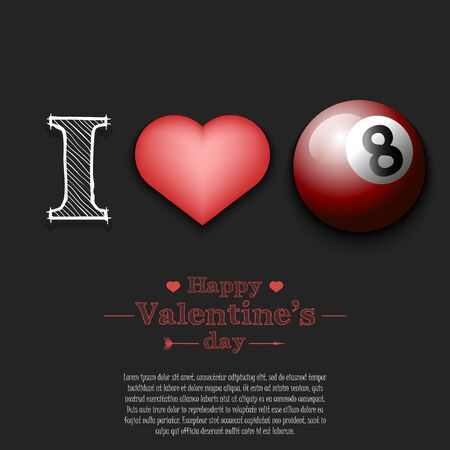 I love billiard. Happy Valentines Day. Pattern with billiard ball and heart on an isolated background. Design template for greeting card, banner, poster, flyer, badges, t-shirt. Vector illustration