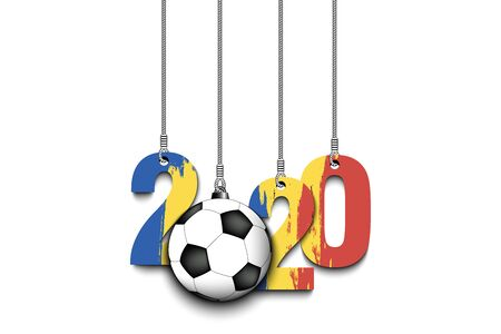 Figures 2020 in colors of the flag of the Romania and soccer ball hanging on strings on an isolated background. Design pattern for banner, poster, flyer, invitation. Vector illustration