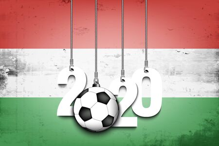 Figures 2020 and soccer ball hanging on strings against the background of the flag of Hungary. Design pattern for banner, poster, flyer, invitation. Vector illustration Illusztráció