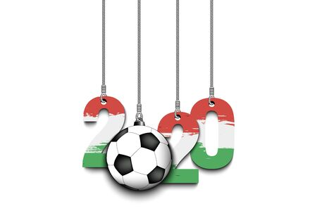 Figures 2020 in colors of the flag of the Hungary and soccer ball hanging on strings on an isolated background. Design pattern for banner, poster, flyer, invitation. Vector illustration