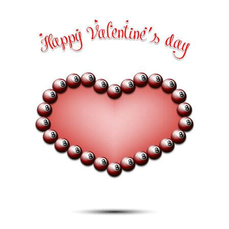Happy Valentines Day. Billiard balls located in the form of a heart on an isolated background. Design pattern for greeting card, banner, poster, flyer,  invitation party. Vector illustration Çizim