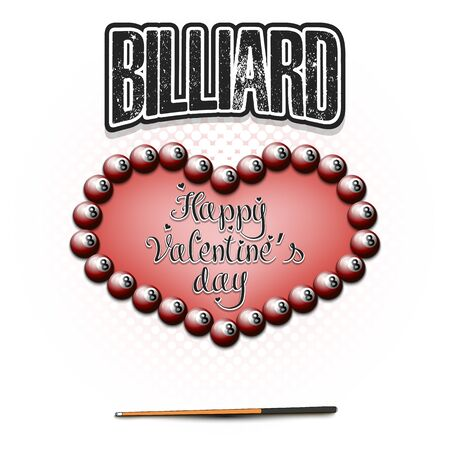 Happy Valentines Day. Billiard balls located in the form of a heart and cue on an isolated background. Design pattern for greeting card, banner, poster, flyer, invitation. Vector illustration Illusztráció