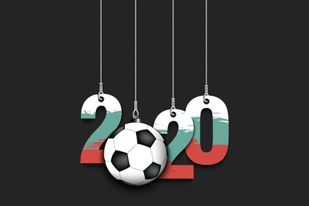 Figures 2020 in colors of the flag of the Bulgaria and soccer ball hanging on strings on an isolated background. Design pattern for banner, poster, flyer, invitation. Vector illustration
