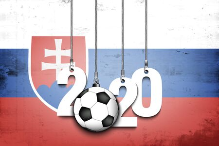 Figures 2020 and soccer ball hanging on strings against the background of the flag of Slovakia. Design pattern for banner, poster, flyer, invitation. Vector illustration