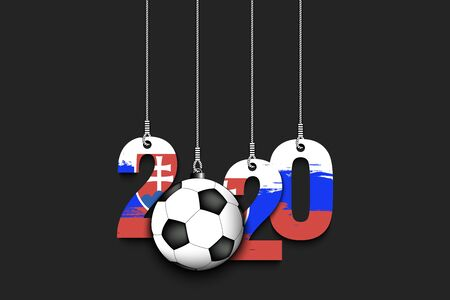 Figures 2020 in colors of the flag of the Slovakia and soccer ball hanging on strings on an isolated background. Design pattern for banner, poster, flyer, invitation. Vector illustration