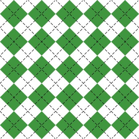 St. Patricks day Argyle plaid. Scottish pattern in green and white rhombuses. Scottish cage. Traditional Scottish background of diamonds. Seamless fabric texture. Vector illustration Ilustrace