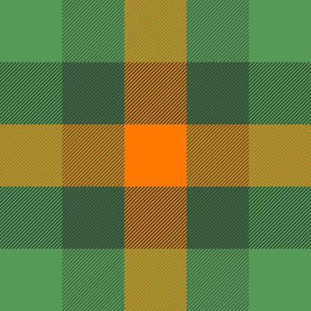 St. Patricks day tartan plaid. Scottish pattern in green and orange cage. Scottish cage. Traditional Scottish checkered background. Seamless fabric texture. Vector illustration Ilustrace