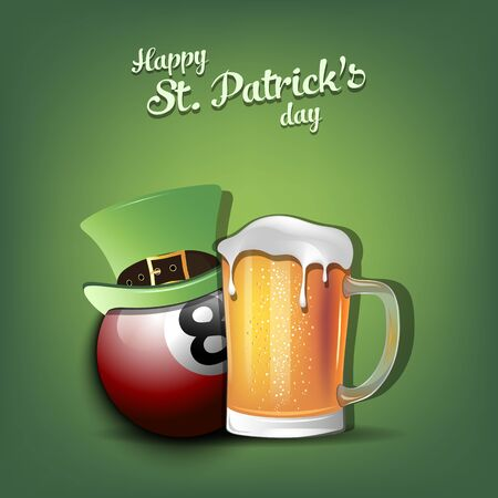 Happy St. Patricks day. Billiard ball with St. Patrick hat and mug of beer. Pattern for banner, poster, greeting card, party invitation. Vector illustration