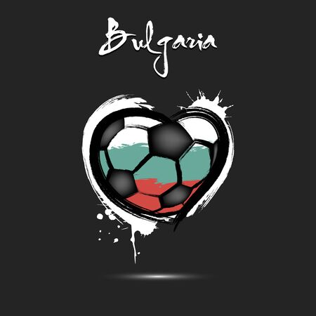 Abstract soccer ball shaped as a heart painted in the colors of the Bulgaria flag. Flag Bulgaria in the form of a heart. Grunge style. Vector illustration