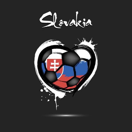 Abstract soccer ball shaped as a heart painted in the colors of the Slovakia flag. Flag Slovakia in the form of a heart. Grunge style. Vector illustration