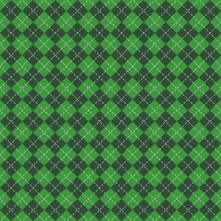 St. Patricks day Argyle plaid. Scottish pattern in green and black rhombuses. Scottish cage. Traditional Scottish background of diamonds. Seamless fabric texture. Vector illustration